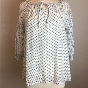 Fred David Semi-Sheer Black White polka dot blouse